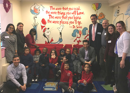 photo of New York office volunteers at Pajama Program Reading Center
